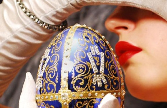 "Burlesque performer Deepa De Jour holds the ""Imperial Czarevich Easter Egg."" Don't get too excited: It's a replica. - THE VIRGINIA MUSEUM OF FINE ARTS"
