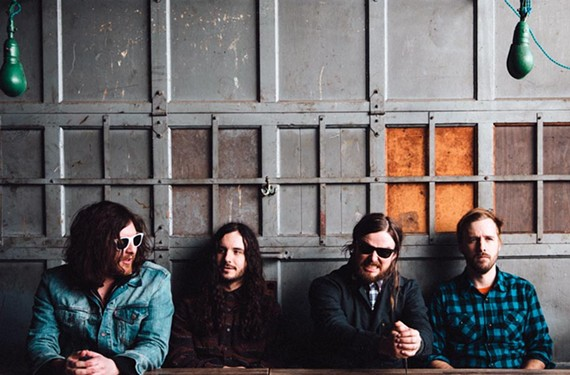 Carytown resident J. Roddy Walston, second from right, sits with his band the Business, which has increased its profile after a string of late-night television appearances and mentions in Rolling Stone.