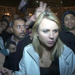 CBS News Correspondent Lara Logan stands in Tahrir Square moments before she was assaulted. Photo by CBS News