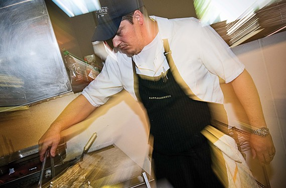 Chef Dylan Fultineer, a nominee for Food & Wine's People's Best New Chef 2015, behind the line at Rappahannock.