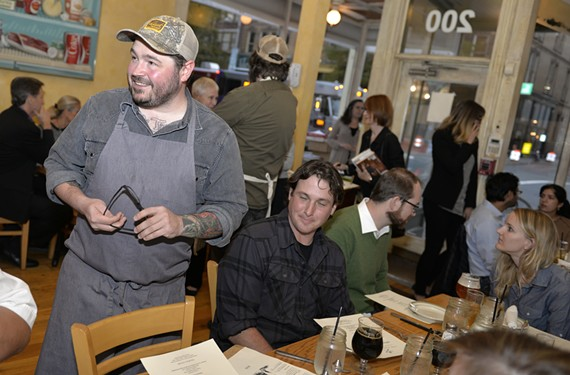 Chef Sean Brock mingles with the crowd at Comfort during Fire, Flour & Fork.