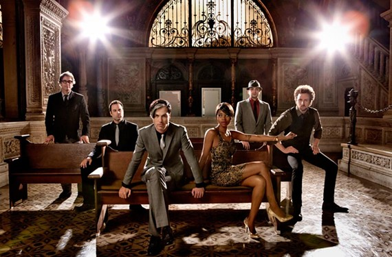 Chosen pew: Nicole Scaggs, third from right, is the stage-stealing featured singer of Fitz and the Tantrums.