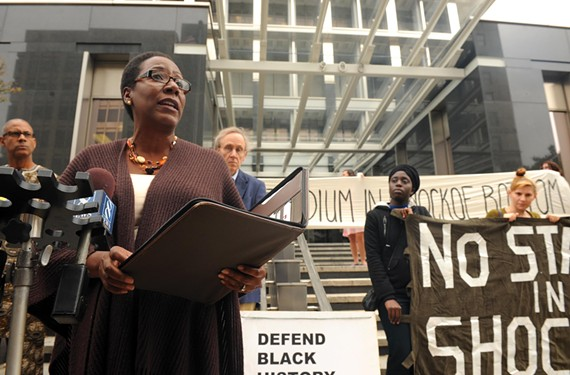 "Christy Coleman, president of the Civil War Center at Historic Tredegar, is among the high-profile opponents of plans for a stadium in Shockoe Bottom. ""We are not opposed to growth. In fact we encourage it,"" she says. ""But not if the cost is so high that it allows us to forget our past -- even the most painful elements of it."" - SCOTT ELMQUIST"