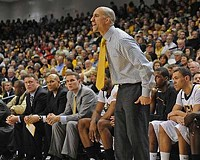 Coach Shaka Smart roams the sidelines during Virginia Commonwealth University's 22-point win over the University of Richmond on Dec. 9.