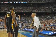 Coach Shaka Smart yells at the referee after Jamie Skeen, who tried to put the Rams on his shoulders during Saturday's game, picks up a foul. - SCOTT ELMQUIST