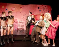 """Codpieces from Outer Space: The aliens confront the townspeople in the Richmond Triangle Players' irreverent sci-fi spoof, """"Devil Boys From Beyond."""""""