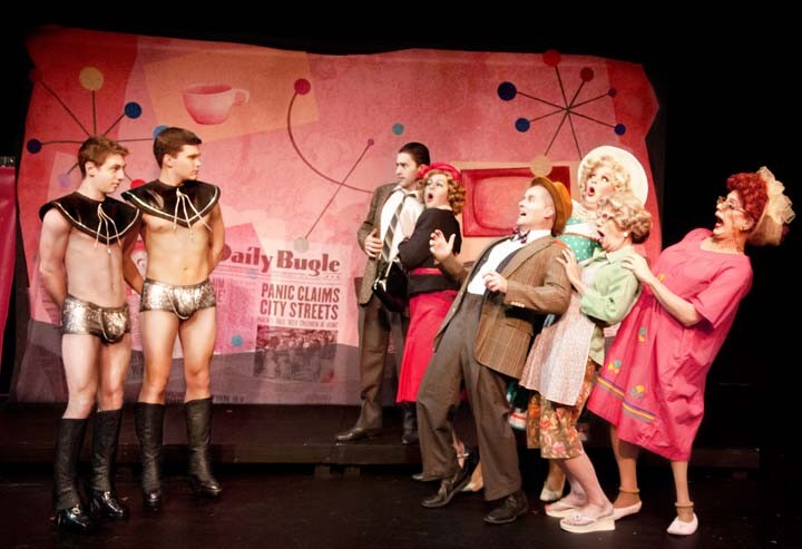 """Codpieces from Outer Space: The aliens confront the townspeople in the Richmond Triangle Players' irreverent sci-fi spoof, """"Devil Boys From Beyond."""" - JOHN MACLELLAN"""