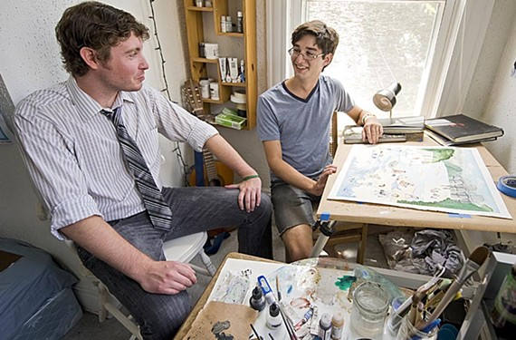 College buddies Andy Rees and Jamie Douglas often collaborate on comics, sometimes in their Fan apartment and sometimes on a stack of bar napkins. - ASH DANIEL