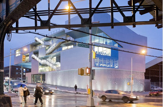 Columbia University's new Campbell Sports Center, by Steven Holl Architects in upper Manhattan, anchors handsomely the scrappy intersection of Broadway and 218th Street.