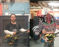 Cory Smoot (left) and in costume as Flattus Maximus.