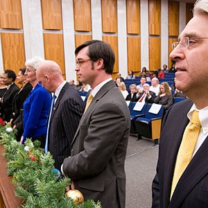 Councilman Bruce Tyler at City Council's 2009 swearing-in, when members elected Kathy Graziano president. Tyler has been jockeying to replace her in 2011.