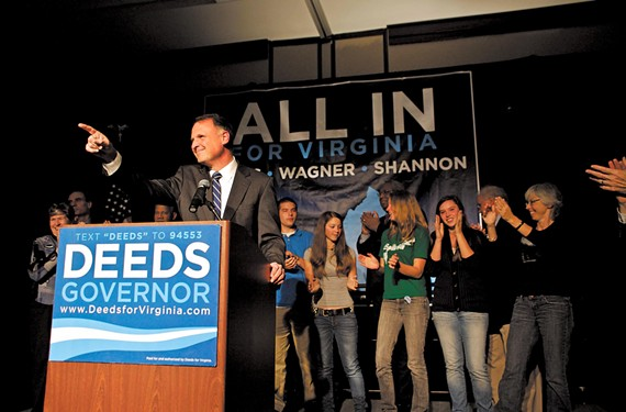 Creigh Deeds, with his son Gus behind him, in blue, offers his concession speech after losing the gubernatorial race to Gov. Bob McDonnell in November 2009. - SCOTT MISTURINI