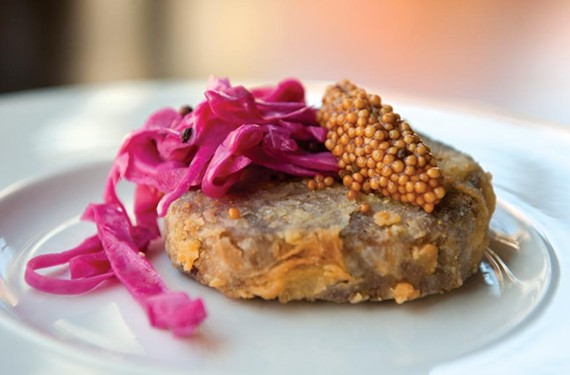 Crispy pig-head terrine with pickled mustard and red cabbage is a stand-out snack at the Roosevelt.