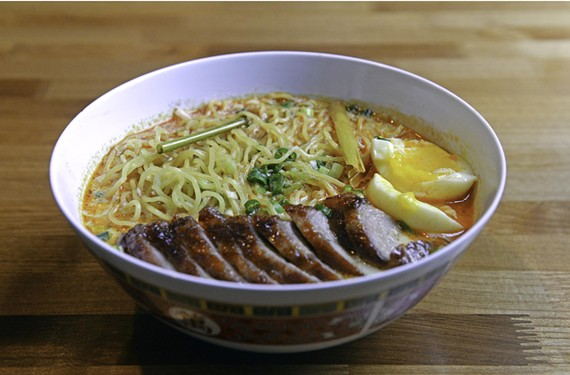 Curry, miso and coconut add flavor to the Malaysian ramen at Food Dog in the Fan.