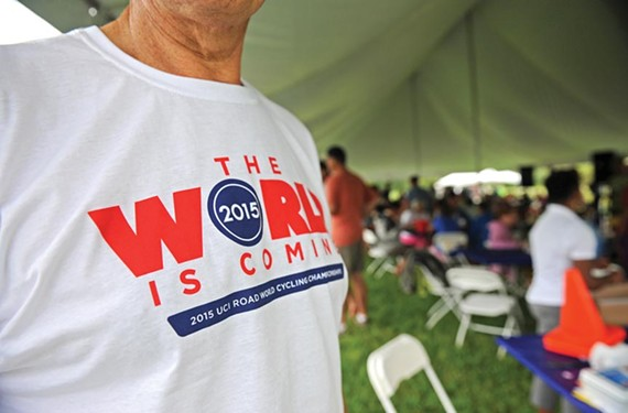 Cycling enthusiasts gather at West Creek Business Park on Saturday for casual rides and barbecue, and to show support for the 2015 UCI Road World Championships. - SCOTT ELMQUIST