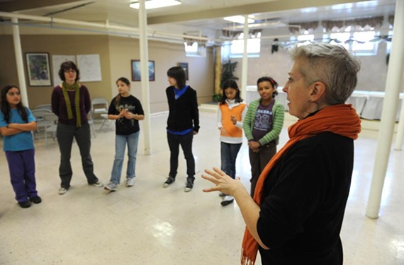 "Cynde Liffick, right, blocks out a scene of William Shakespeare's ""As You Like It"" for the home-schooled pupils in her Planet Shakespeare class. ""There's such a self-esteem rush you can get from Shakespeare."" - SCOTT ELMQUIST"