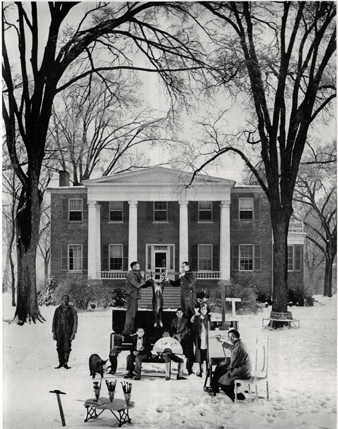 """Dali and his wife were guests at Hampton Manor near Bowling Green in Caroline County from August 1940 to April 1941. Specifically for a Life magazine feature on the couple's stay, the Spanish-born artist staged a scene, """"The Effect of Seven Negroes, a Black Piano and Two  Black Pigs on the Snow."""""""
