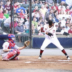 Darren Ford bats against the Reading Phillies at a Flying Squirrels game this summer.  Photo courtesy of the Richmond Flying Squirrels