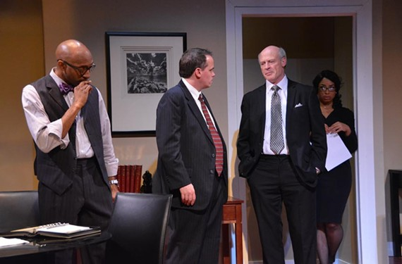 "David Mamet's ""Race,"" which runs through Dec. 21 at Virginia Rep's Theatre Gym, stars d.l. Hopkins, Billy Christopher Maupin, Joe Inscoe and Katrinah Carol Lewis. The play follows three lawyers defending a white businessman accused of raping a black woman, and is produced by Carol Piersol and African American Repertory Theatre."