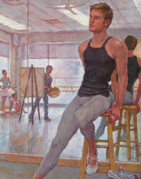 "David Tanner's ""Painting Phillip Skaggs of Richmond Ballet."""