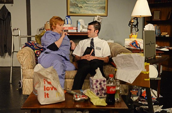 """Debra Wagoner as caregiver Liz and Deejay Gray as young Mormon missionary, Elder Thomas, are called to navigate issues of loss and faith in Samuel D. Hunter's """"The Whale."""""""