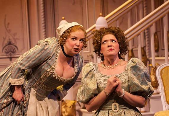"Debra Wagoner as Dorine and Amaree Cluff as Mariane in Va Rep's ""Tartuffe."""