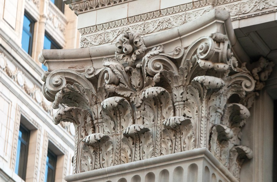 Deeply carved capitals are part of the classical vocabulary Bossom lavished on the First National Bank facade. - SCOTT ELMQUIST