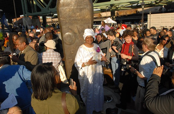Delegate Delores McQuinn at the 2010 unveiling of the Richmond Slavery Reconciliation statue on Main Street next to the train station. The longtime chairwoman of the city's Slave Trail Commission says development proposed for the Bottom must not threaten slave history sites. - SCOTT ELMQUIST