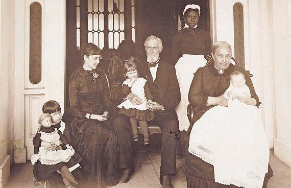 Did Mary Jane Richards really spy on the Confederate president in his own home? Here, two unidentified black servants are pictured with Jefferson and Varina Davis, their daughter and grandchildren years after the war. - LIBRARY OF CONGRESS
