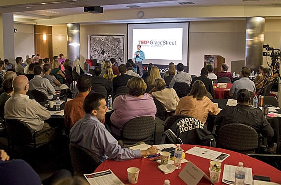 Domenick Casuccio asks TEDxGraceStreet attendees to rethink how people can contribute time to nonprofits. - ASH DANIEL