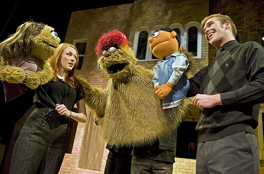 "Don't expect any alphabet songs in Theatre VCU's production of ""Avenue Q."" From left: Kate Monster, operated by Maggie Horan; Trekkie Monster, played by Mahlon Raoufi; and Princeton, operated by Shane Moran. - ASH DANIEL"