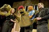 "Don't expect any alphabet songs in Theatre VCU's production of ""Avenue Q."" From left: Kate Monster, operated by Maggie Horan; Trekkie Monster, played by Mahlon Raoufi; and Princeton, operated by Shane Moran."