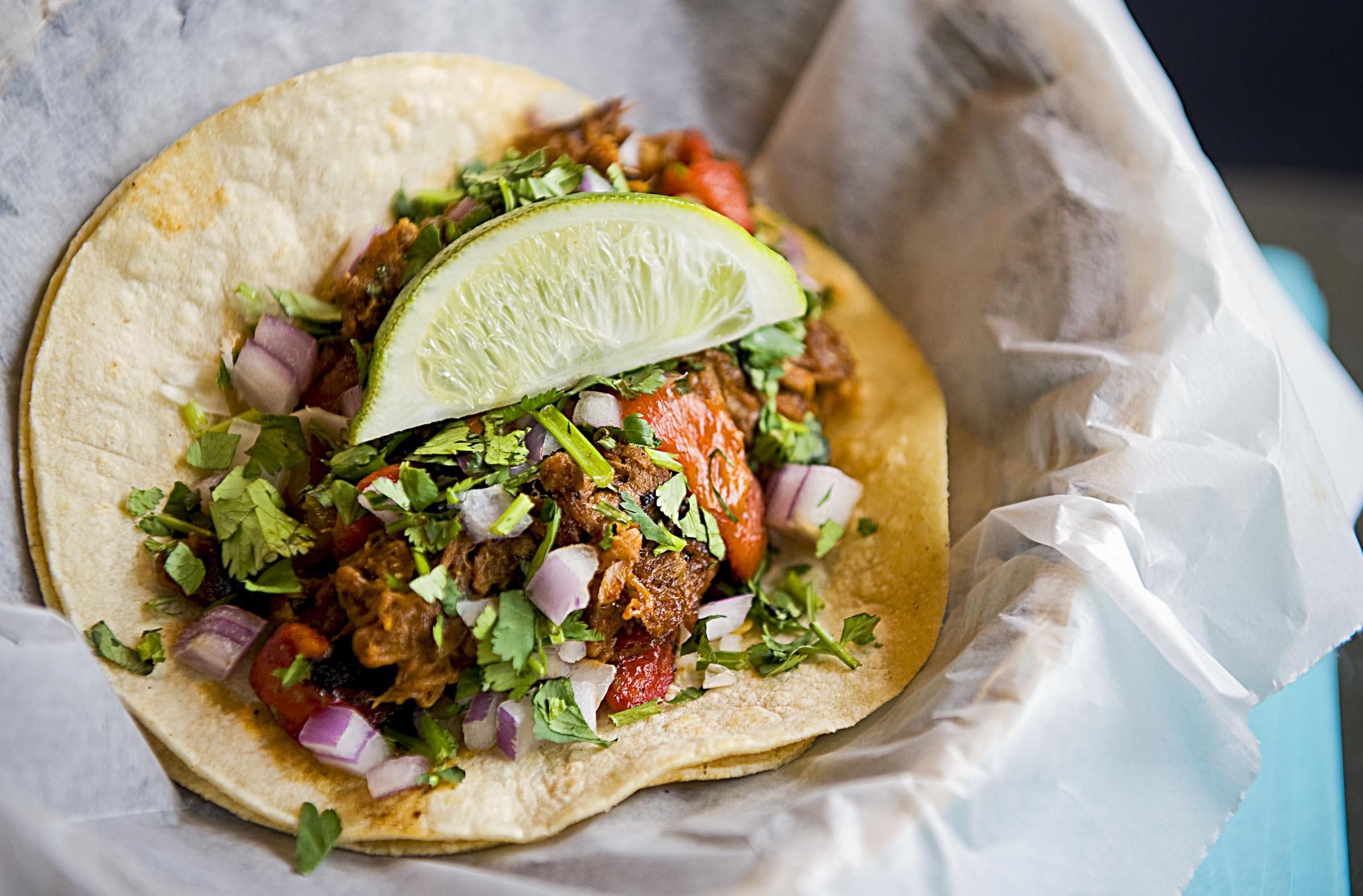 Don't Look Back's carnitas and rajas taco. - ASH DANIEL
