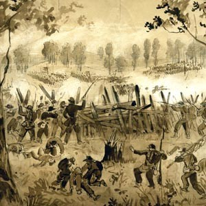 Draw your pistols: John Hillen was one of the illustrators who contributed on-the-spot Civil War sketches for Frank Leslie's Illustrated Weekly. Hillen's rendering of a bloody 1864 skirmish near Atlanta (above) was one of many that brought the harsh realities of battle into the homes of ordinary Americans.  Courtesy of The Virginia Museum of Fine Arts