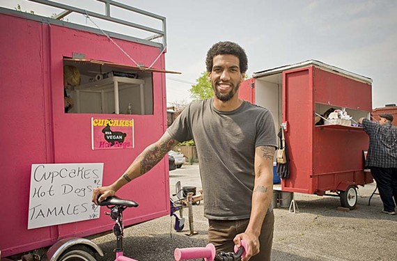 Ed Edge says he may risk losing masculinity points for his pink food cart, RVA Vegan, serving from a parking lot alternately called the Grub Lot or the Pod. - ASH DANIEL