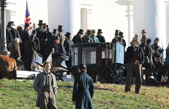 Extras and actors crowd Capitol Square on Dec. 6 for a massive scene in Steven Spielberg's movie. - ERIC OWEN