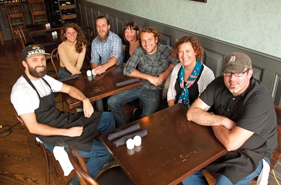 """Feather credits her staff and partner Lee Gregory with the Roosevelt's success. From left to right: Mark Lewis, Ashley Carruthers, Thomas """"T."""" Leggett, Collee Hanretta, Brandon Peck, Feather and Gregory. - SCOTT ELMQUIST"""
