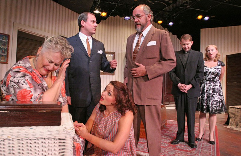 Firehouse Theatre's production of Tennessee Williams' classic play is steaming up the stage. From left, Jacqueline Jones, Larry Cook, Laura Rikard, Andrew C. Boothby, Dean Knight and Laine Satterfield. - JAY PAUL
