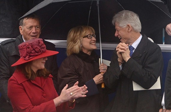 First lady Dorothy McAuliffe speaks with former President Bill Clinton and former U.S. Sen. and Secretary of State Hillary Clinton at McAuliffe's inauguration. - SCOTT ELMQUIST