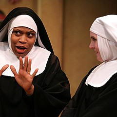 "Five nuns walk into a crowded theater: Jan Guarino, Shalimar Hickman-Fields, Catherine Shaffner, Debra Wagoner and Brittany Simmons trade barbs and bible verses in Barksdale's ""Nunsense."""