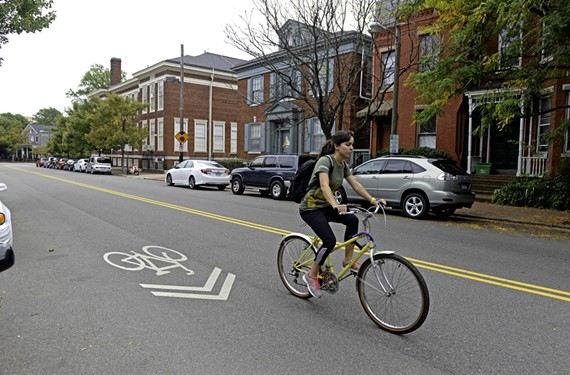 Floyd Avenue in the Fan and Museum districts already is marked with sharrows, installed two years ago to remind drivers to share the road with cyclists.