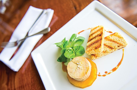 Foie gras is on the regular menu at Belmont Food Shop, but it's the late night menu that has surprises. - ASH DANIEL