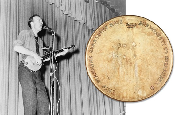 Folk legend Pete Seeger and his banjo head, inset, are featured in a new musical exhibit commemorating the 150th anniversary of the Emancipation Proclamation. - PHOTO: LIBRARY OF CONGRESS; BANJO: VIRGINIA HISTORICAL SOCIETY