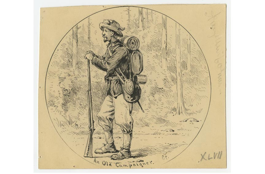 Forbes sketched this member of the 42nd Pennsylvania Infantry, a young man prematurely worn by war.