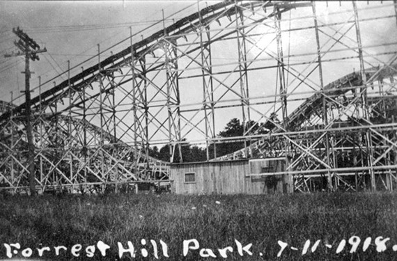 Forest Hill Park was initially built as an amusement park at the terminus of one of the streetcar lines. Stilson (obviously no speller), photographed the wooden roller coaster in July 1918. - COPYRIGHT RICHMOND IN SIGHT