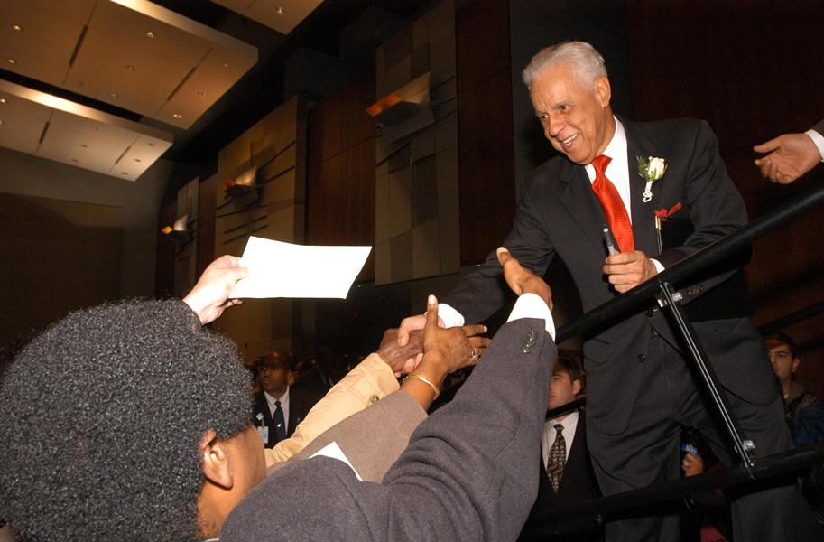 Former Gov. Doug Wilder greets supporters in 2005, celebrating his election as the city's first popularly elected mayor in 56 years. Wilder led the campaign to change the city charter, won election in 2004 and vowed to shake things up. - SCOTT ELMQUIST