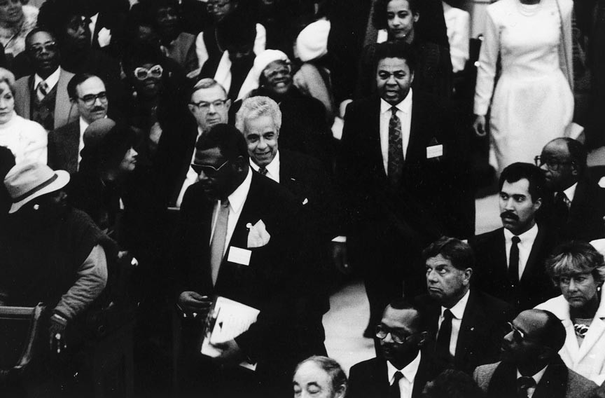Former Gov. L. Douglas Wilder (center) helped pay his way through Virginia Union University by waiting tables at the John Marshall. - VALENTINE RICHMOND HISTORY CENTER