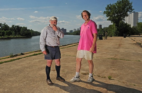 Former James River Park Manager Ralph White and advocate Rick Tatnall envision food vendors, farmers markets and festivals on what's now an empty, one acre spot on the James River.