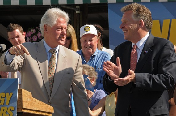 Former President Bill Clinton stumps for McAuliffe at the 17th Street Farmers' Market in April 2009. - SCOTT ELMQUIST
