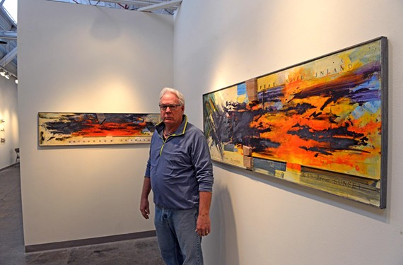 "Former Richmond artist Frank Cole (shown here at Artspace) and his family have settled in Rockville, Maryland. But he says he wanted to show his paintings ""where my artistic friends are."""